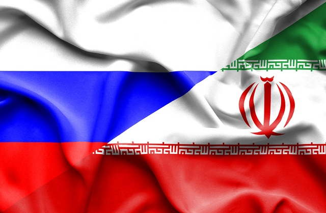 Waving flag of Iran and Russia